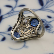 c1920 18k Burmese Sapphire and Diamond Dinner Ring