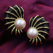 Mabé Pearl Shell Earrings by Boris-LeBeau c1980