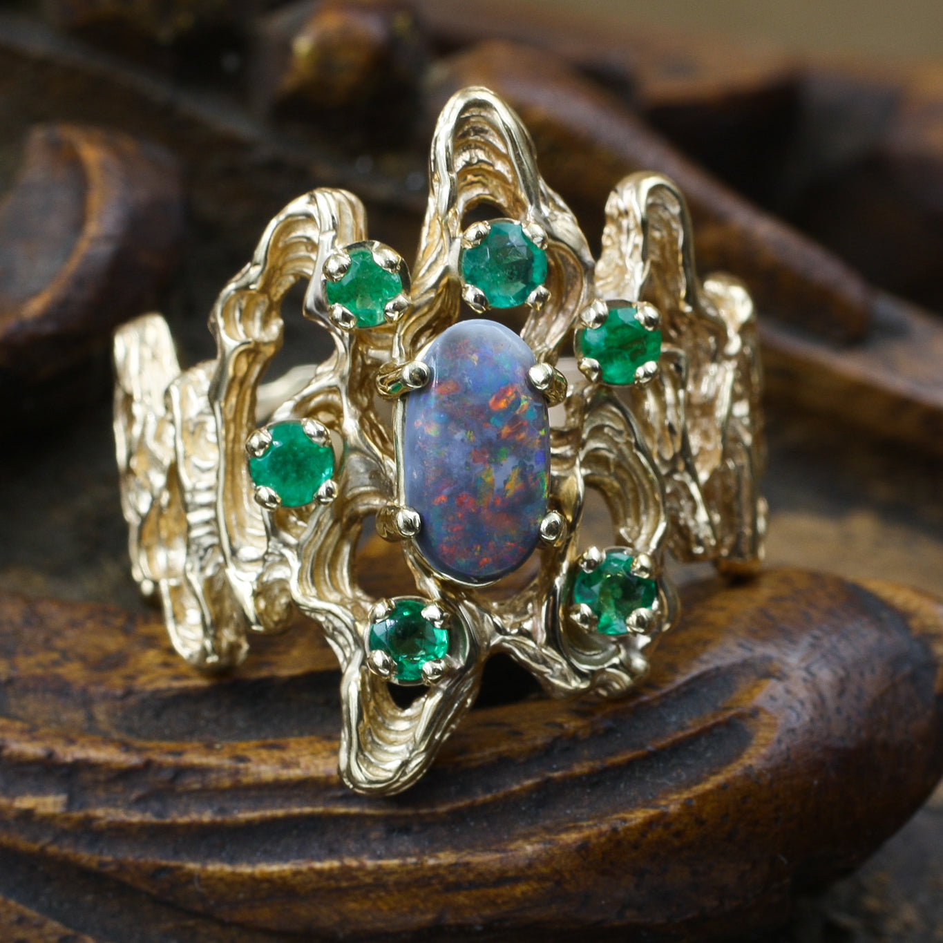 Brutalist Boulder Opal and Emerald Ring c1970