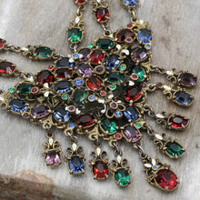 1950s Stunning Multicolor Czech Glass Festoon Necklace