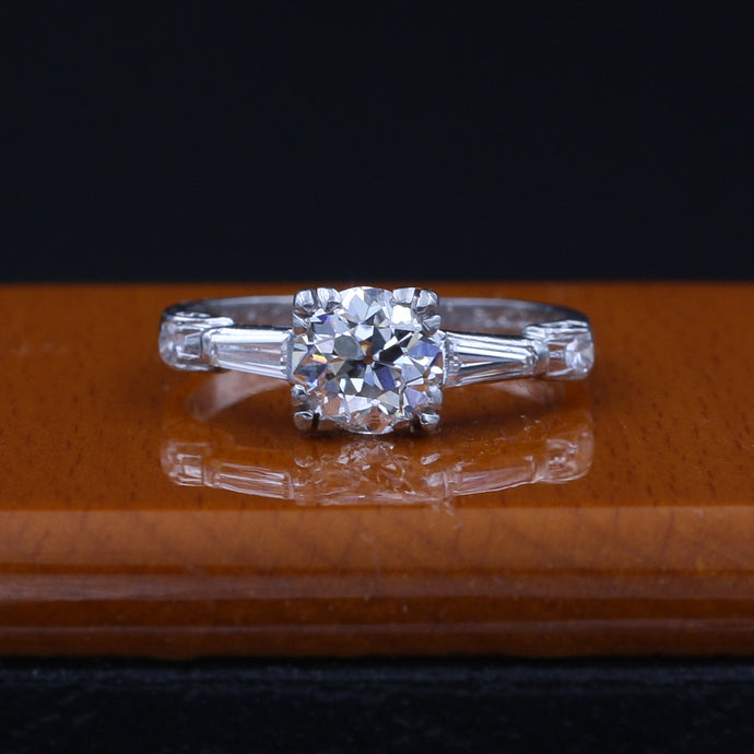 .92 Carat Old European Cut Diamond Platinum Ring c1920