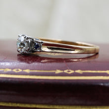 c1930 Transitional Cut Diamond and Sapphire Ring