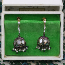Antique Indian Rose Cut Diamond and Gemstone Drop Earrings