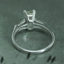 Circa 1950 Platinum Emerald Cut Diamond Ring