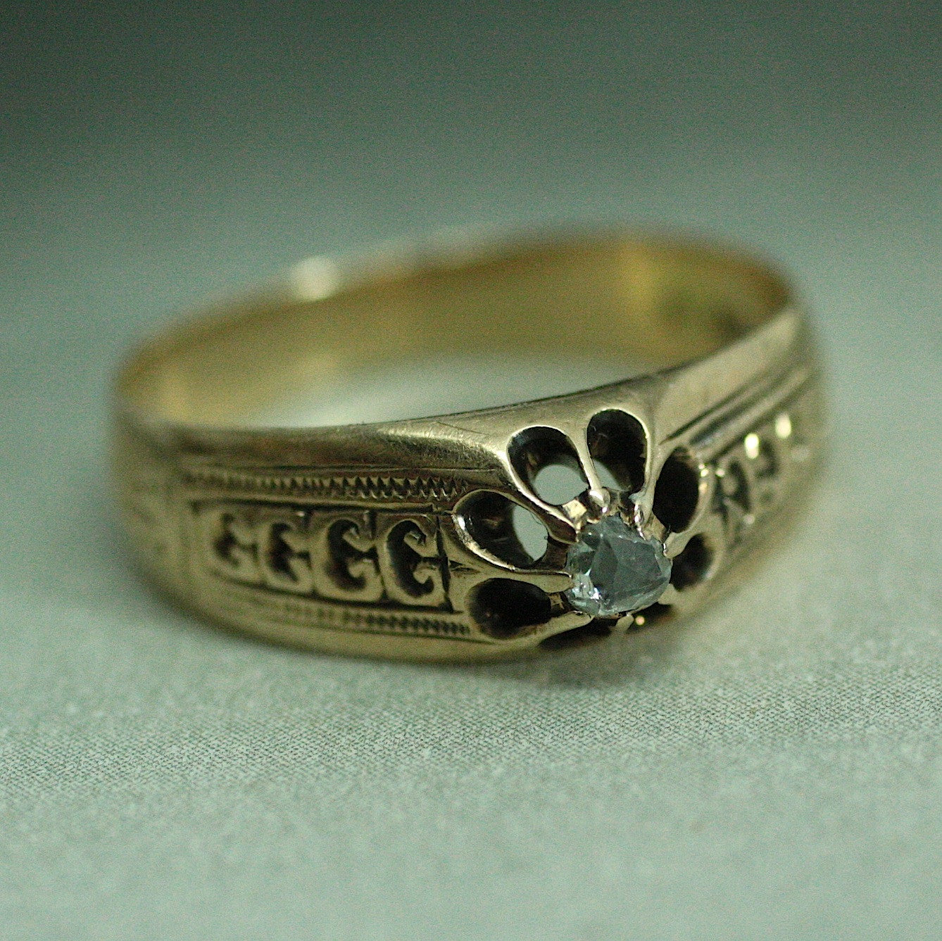 Circa 1850 Handmade 14K Rose Cut Diamond Ring