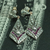 Circa 1920's Handmade Diamond & Synthetic Ruby Earrings