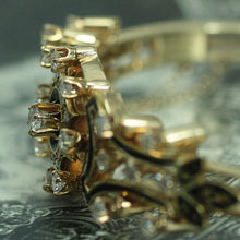 Circa 1950 14K Diamond & Enamel Hinged Bangle