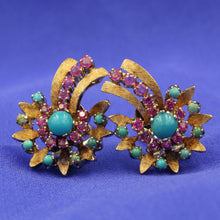 Turquoise and Ruby Comet Earrings, 1930s