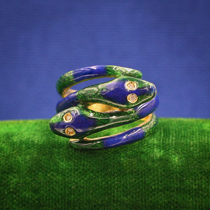 Enamel Double Snake Ring