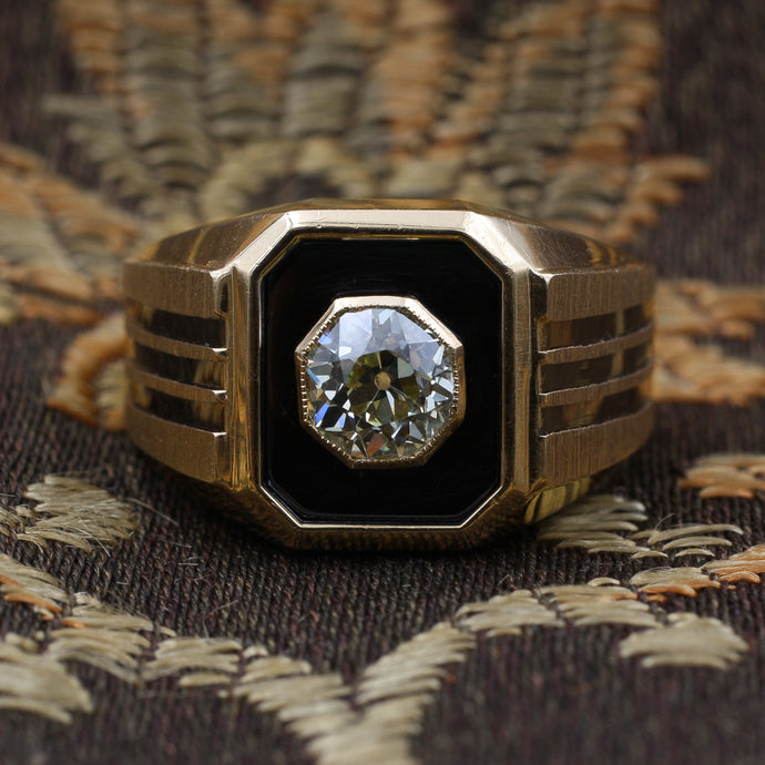 Old Mine Cut Diamond Men's Ring by Le Mans c1970