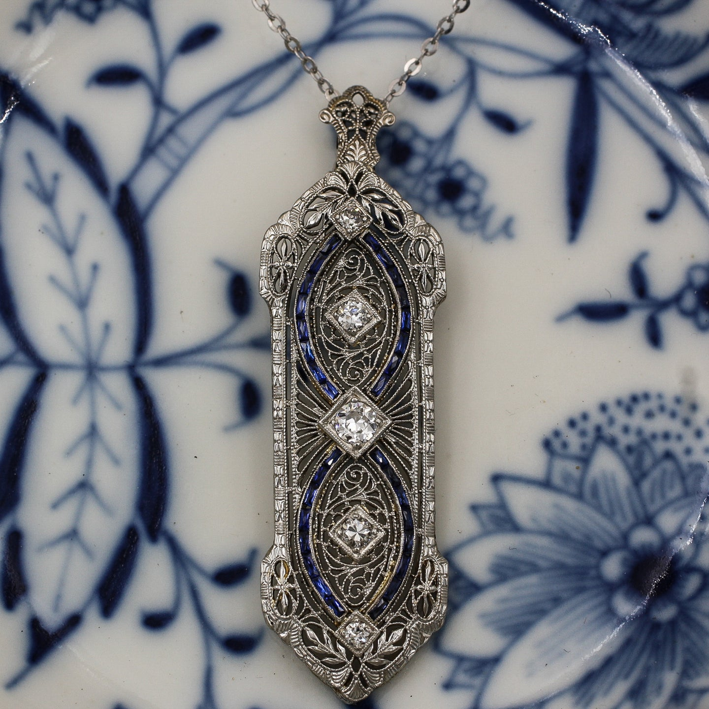 c1920 Deco Sapphire and Diamond Filigree Pendant- Front View
