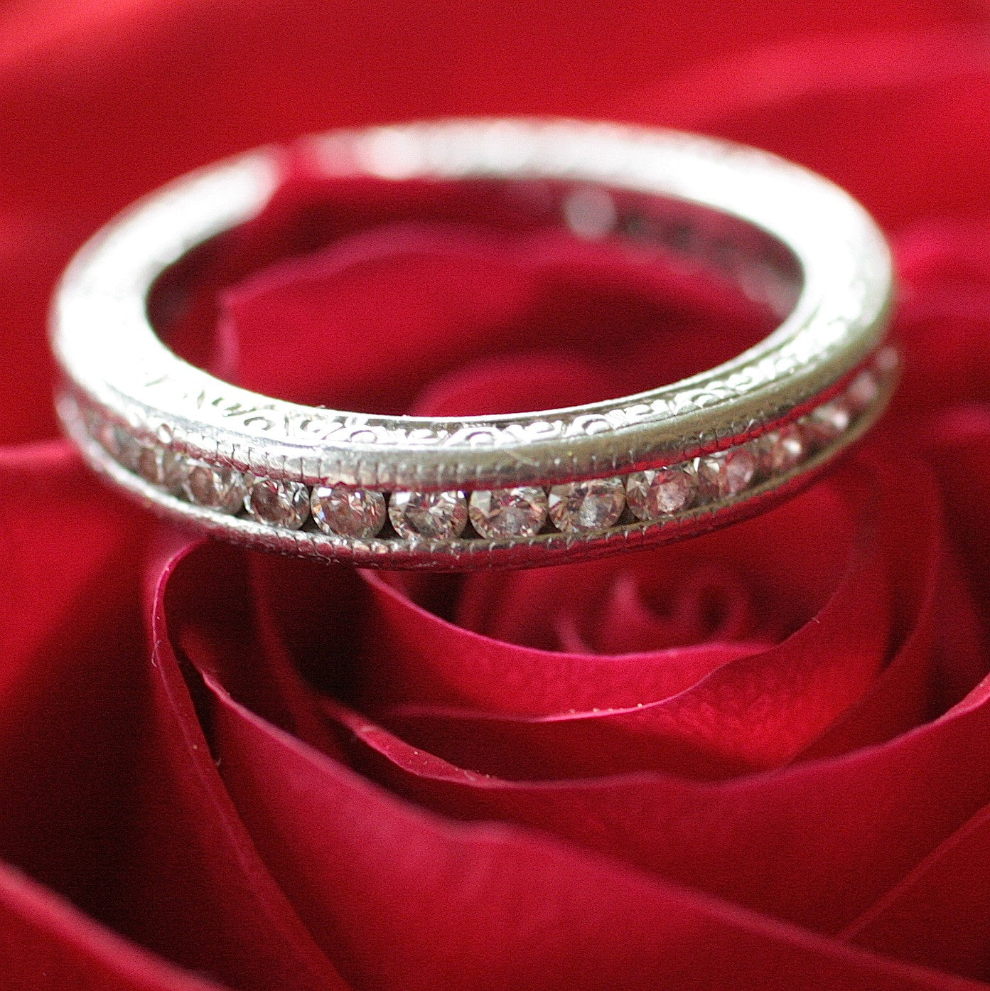 Circa 1940's Platinum Diamond Eternity Band