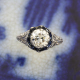 c1920 1.25 Carat Diamond and Sapphire Halo Bloom Ring