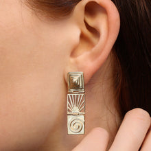 Gold Cut-out Graphic Earrings c1990