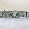 c1910 Handmade Platinum 7.5 Carat Diamond and Emerald Bracelet