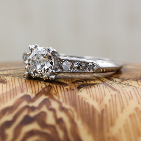 1940s Handmade Platinum Old European Cut Diamond Ring