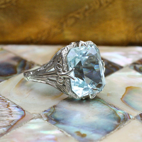 Deco Aquamarine Ring