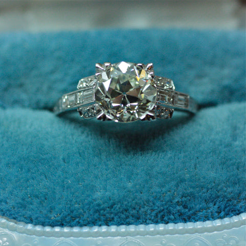 Circa 1940 handmade platinum GIA certified 2.46ct diamond engagement ring