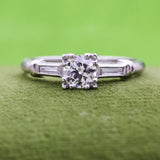 1940s Handmade Platinum Transitional Cut Diamond Ring