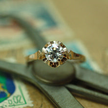 Circa 1930 Soviet Russia 14k rose gold diamond engagement ring
