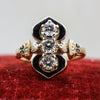 1930s-50s Victorian Reproduction Enamel and Diamond Ring