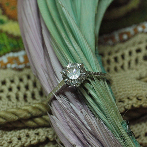 Circa 1940 handmade 18k white gold solitaire engagement ring