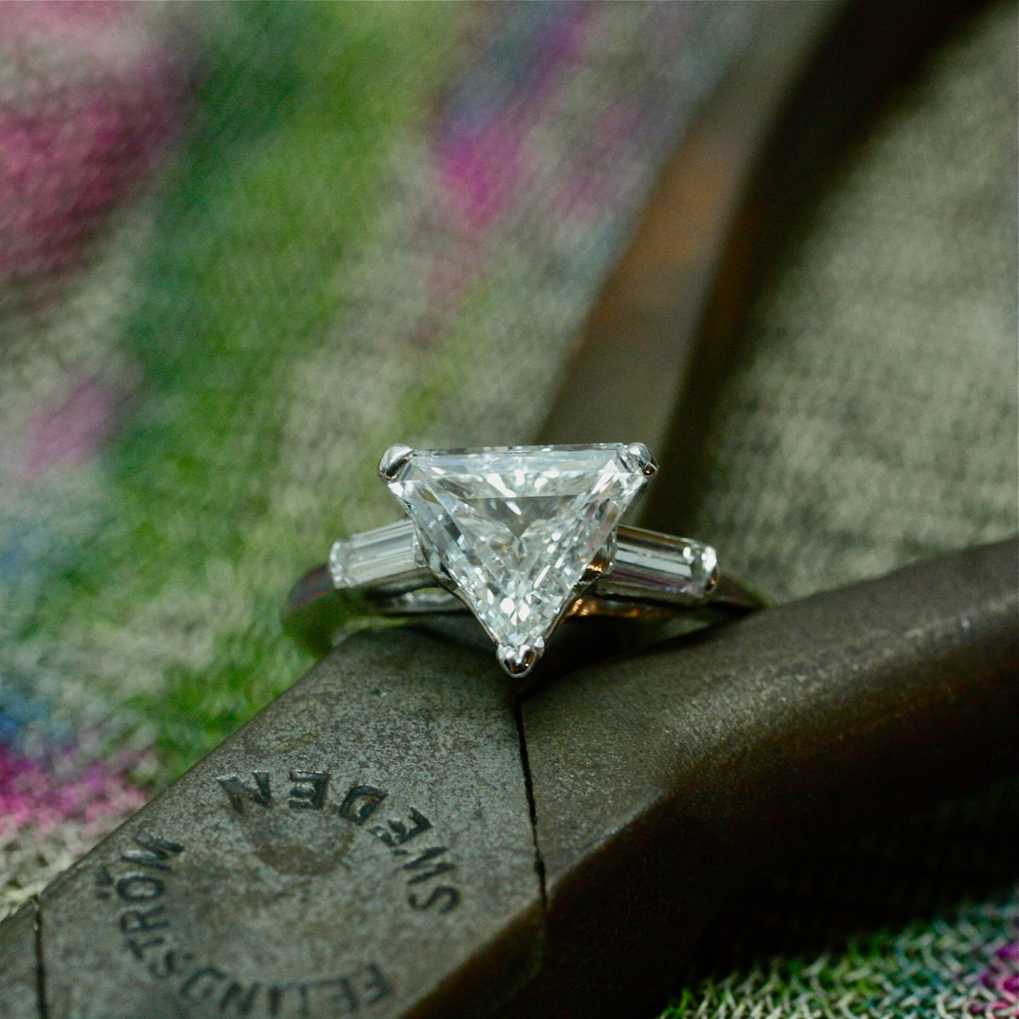 1950s handmade platinum triangle cut diamond engagement ring