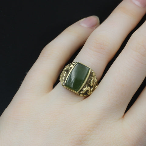 Hand-carved Dragon Jade Ring