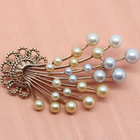14K Rose Gold & Colored Pearl Spray Brooch