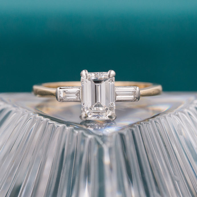 Emerald Cut Diamond Two-Tone Ring c1970