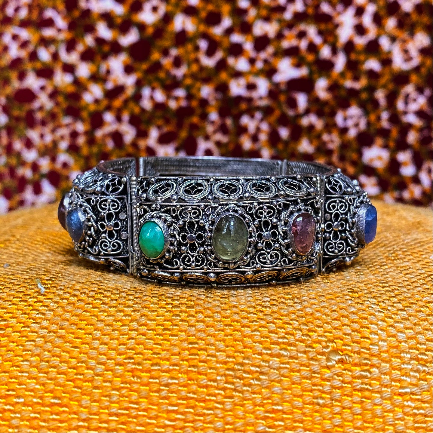 Silver Filigree & Gemstone Bracelet c1920