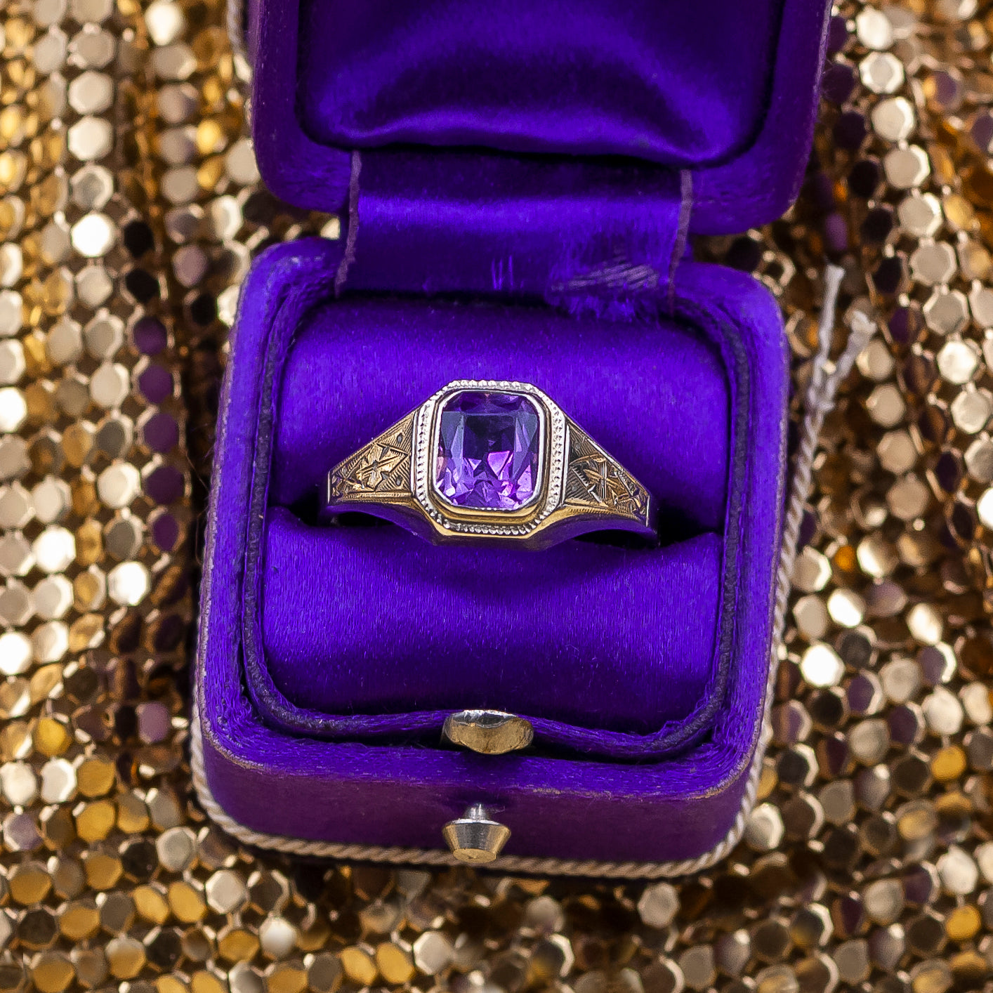 Hand-chased Amethyst Ring c1940