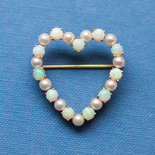 Pearl and Opal Heart Brooch c1915