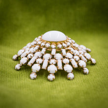 Milk Glass Brooch by Schreiner c1950