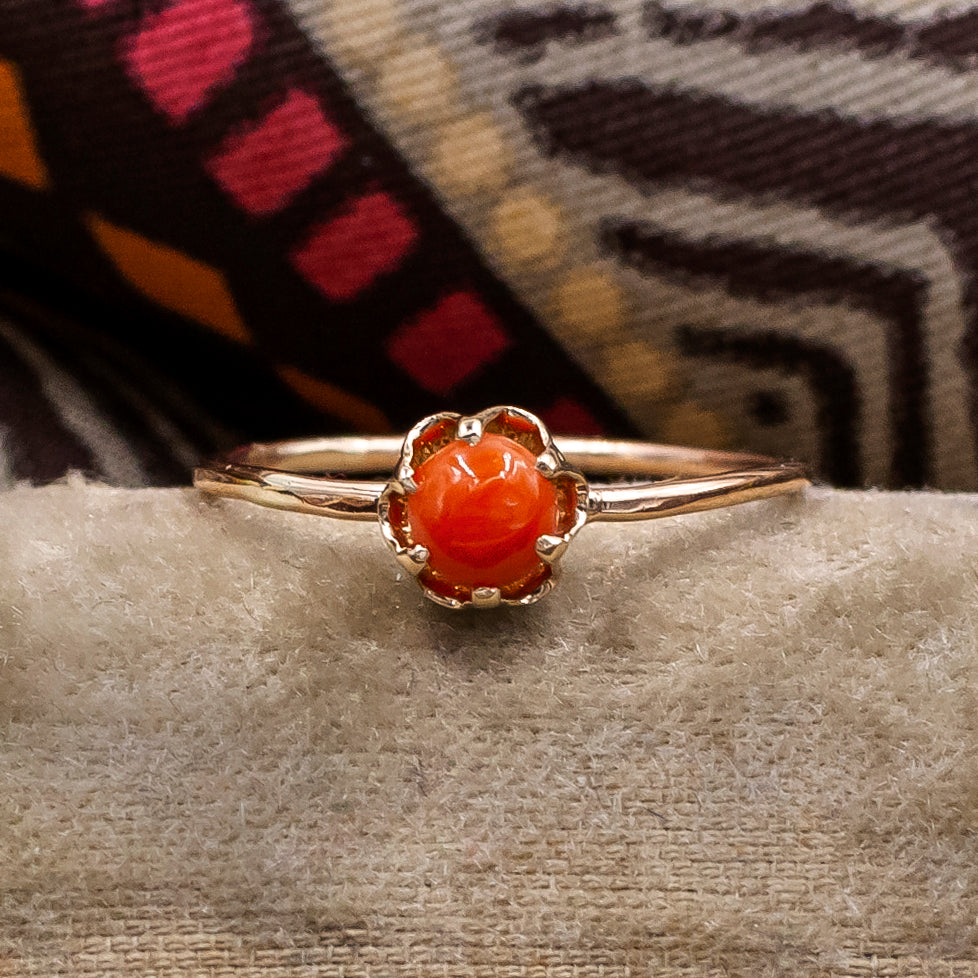 Coral Solitaire Ring c1890