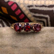 Three Stone Bohemian Garnet Ring c1930
