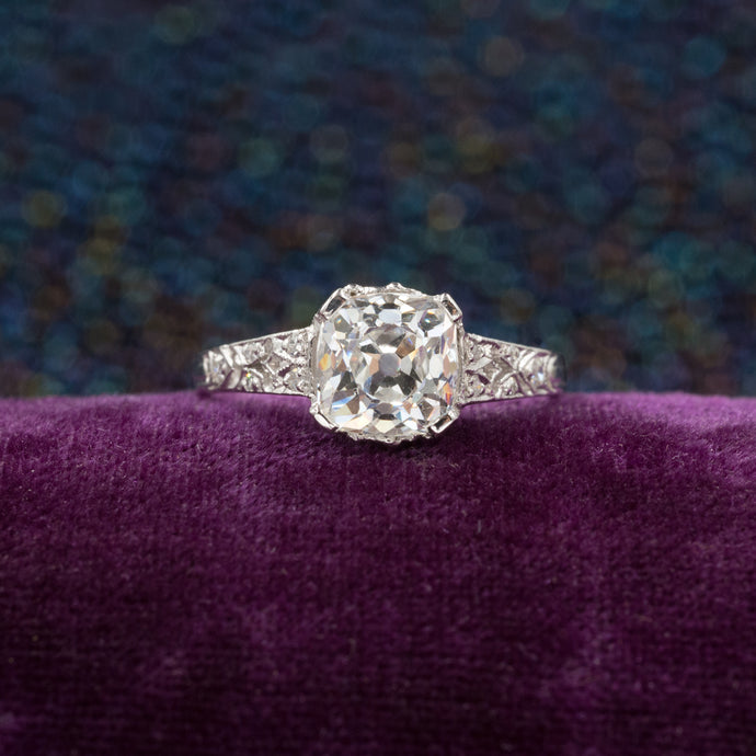 1.41 Carat Old Mine Cushion Cut Diamond Ring c1910