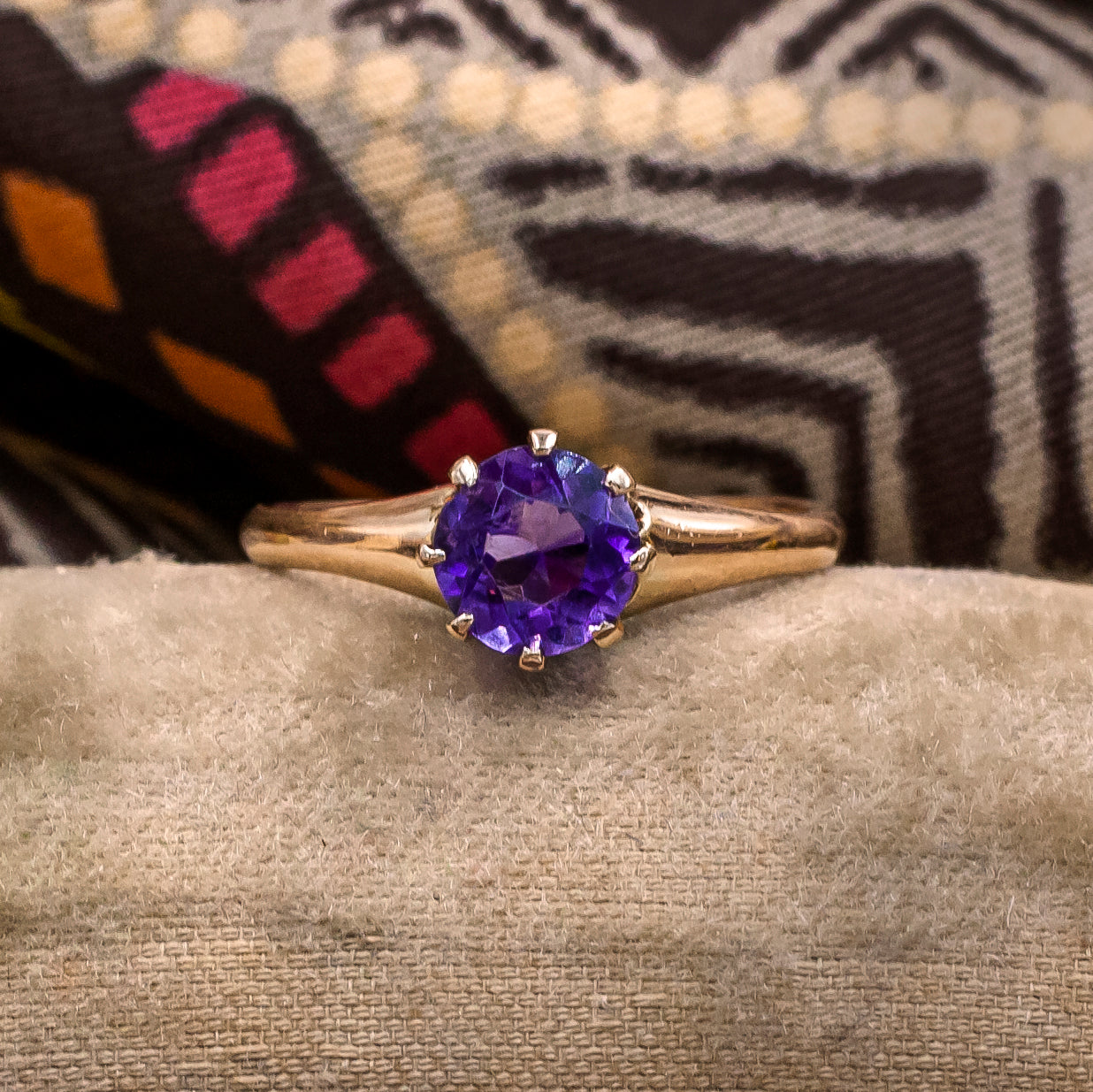 Amethyst Solitaire Ring c1910