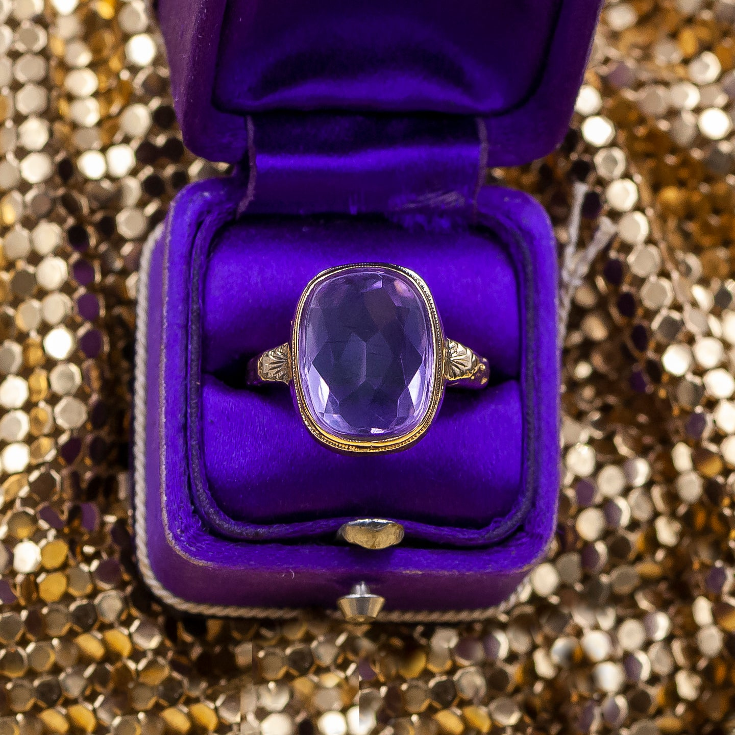 Reverse-Facetted Amethyst Ring c1930