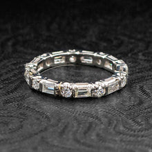 Round & Baguette Cut Diamond Eternity Band c1950