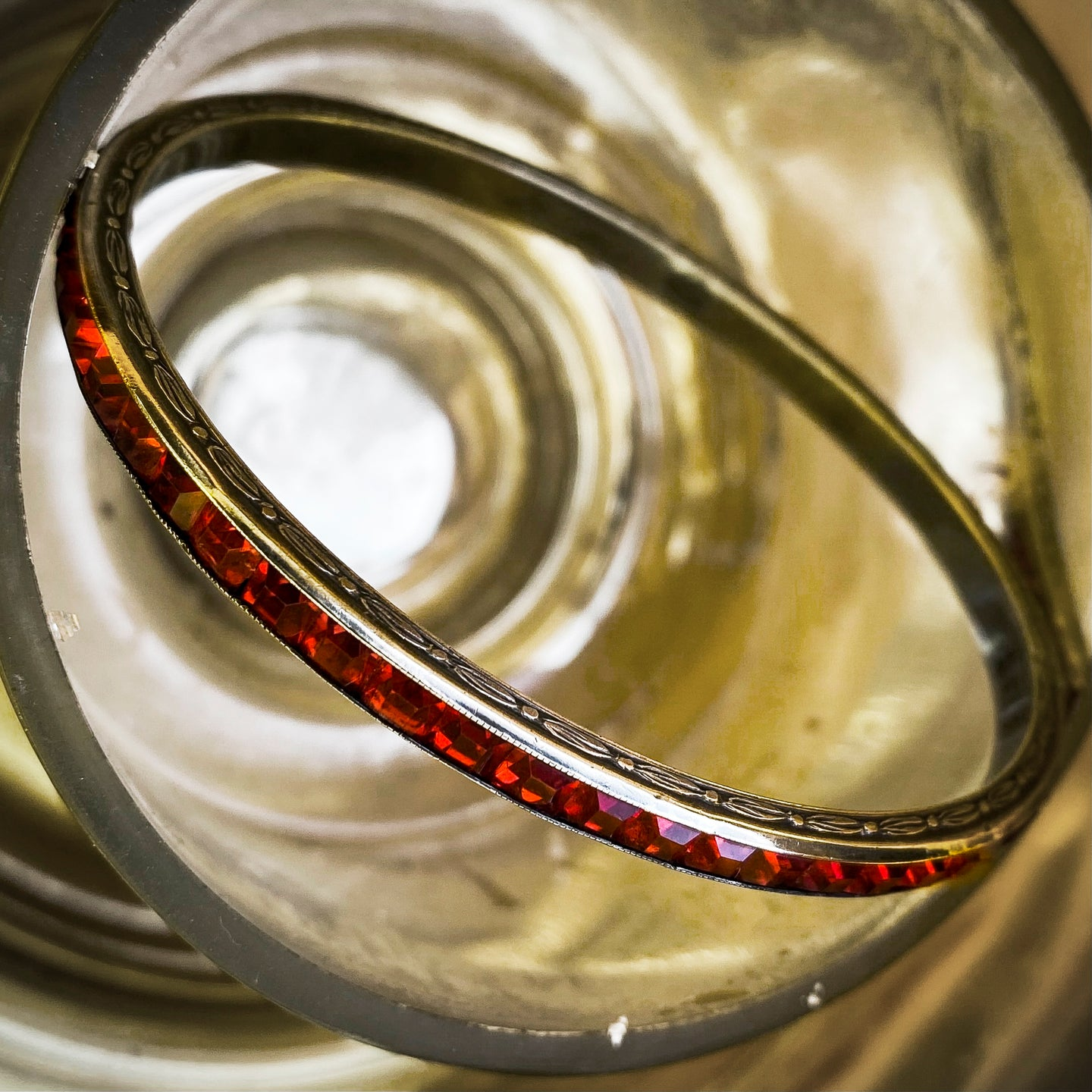 Deco Channel-Set Red Crystal Bangle c1920