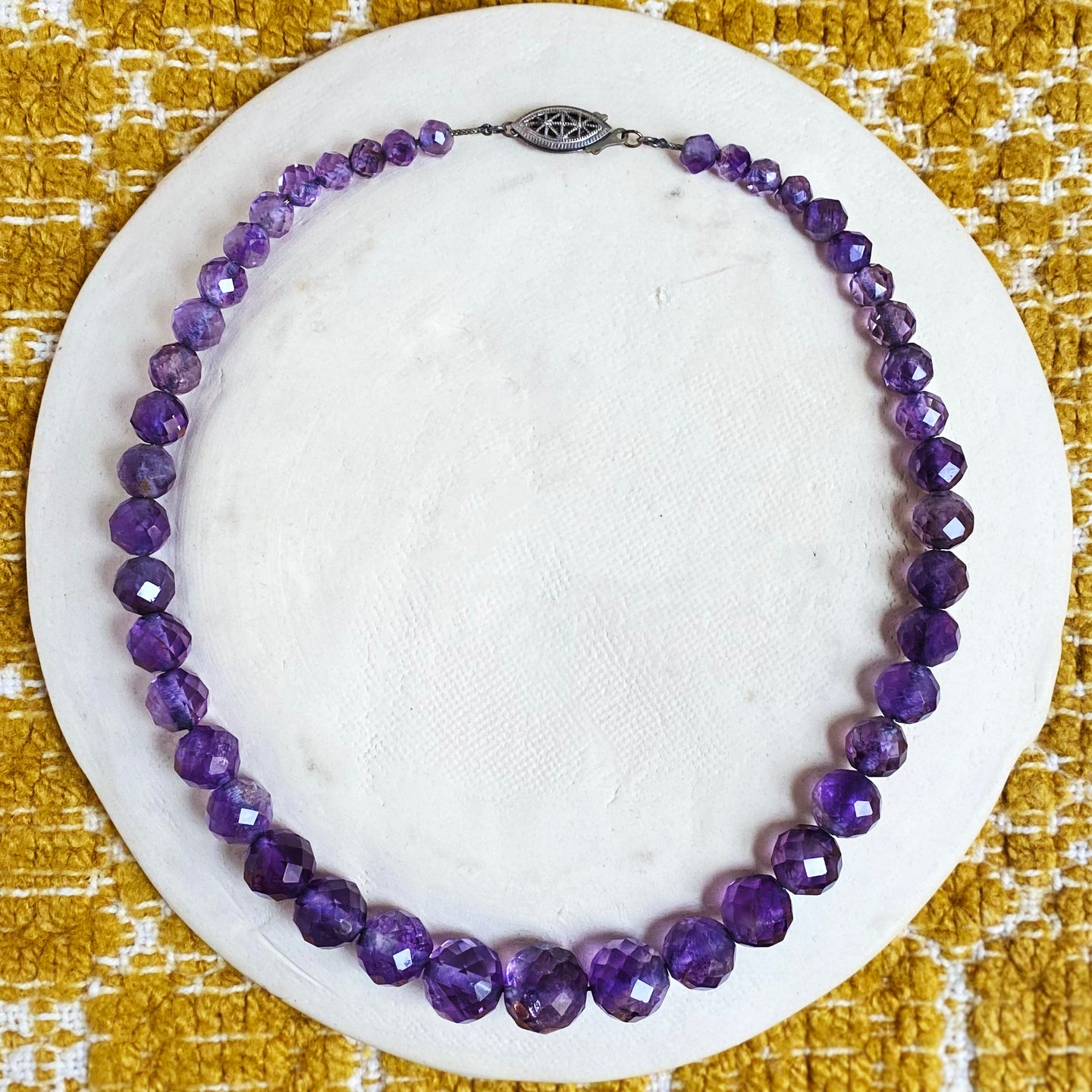 Faceted Amethyst Bead Necklace c1930