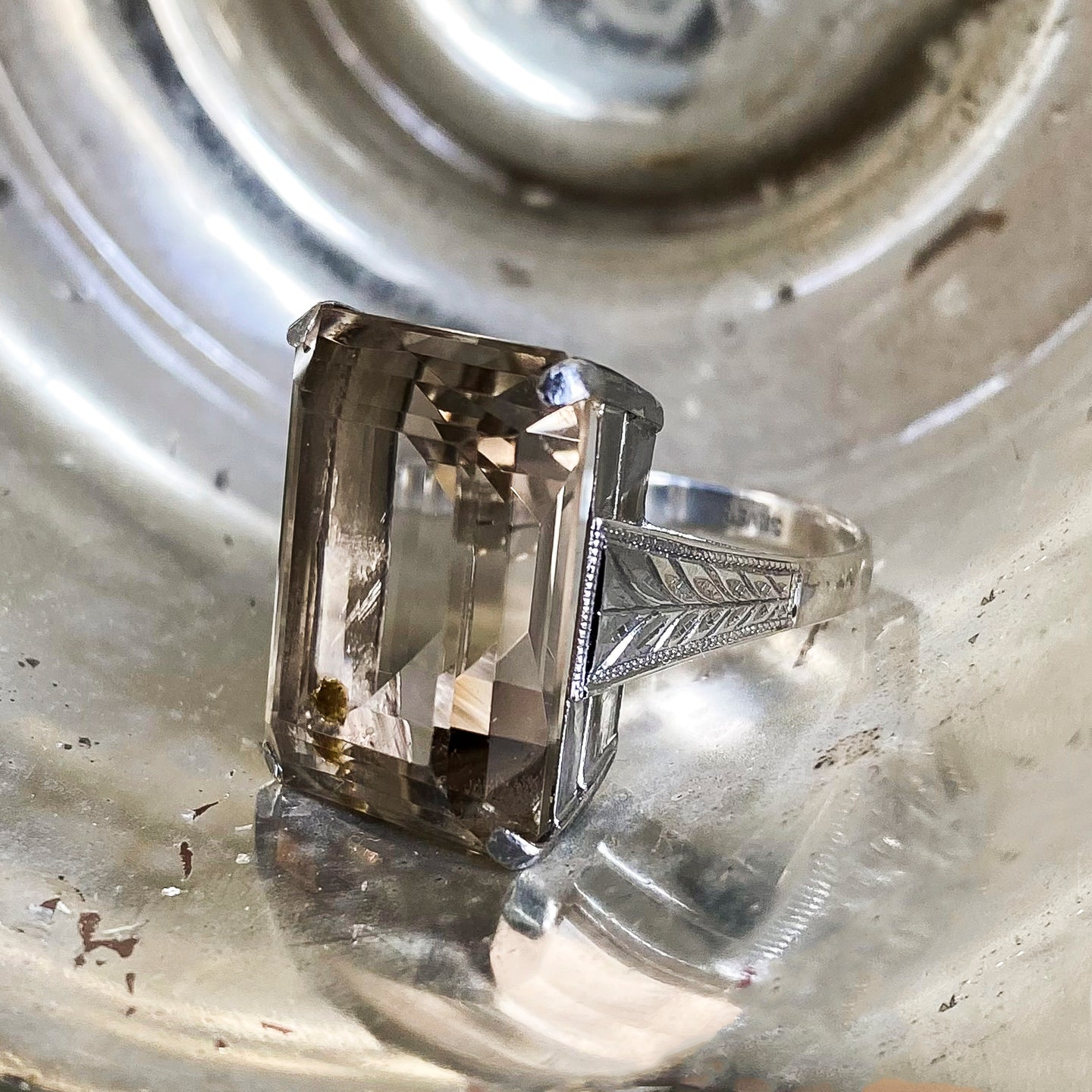Smoky Quartz Cocktail Ring c1930