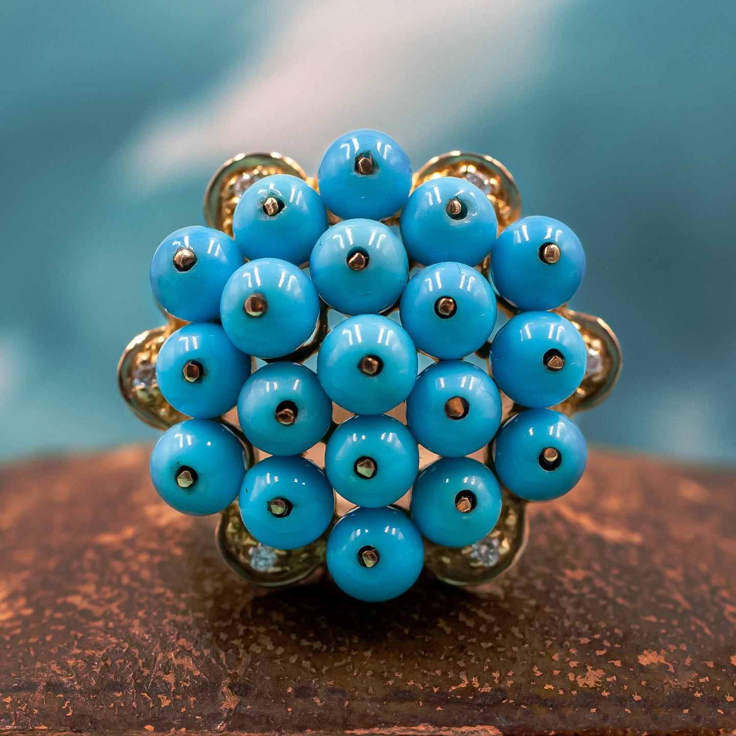 Persian Turquoise Bead Cocktail Ring c1980