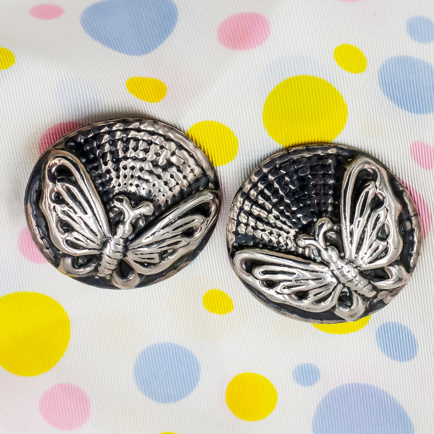 Taxco Butterfly Button Earrings c1980