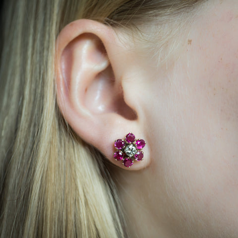 Mid-century Ruby and Diamond Stud Earrings