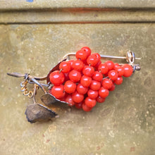 Red Coral Grape Pin c1930