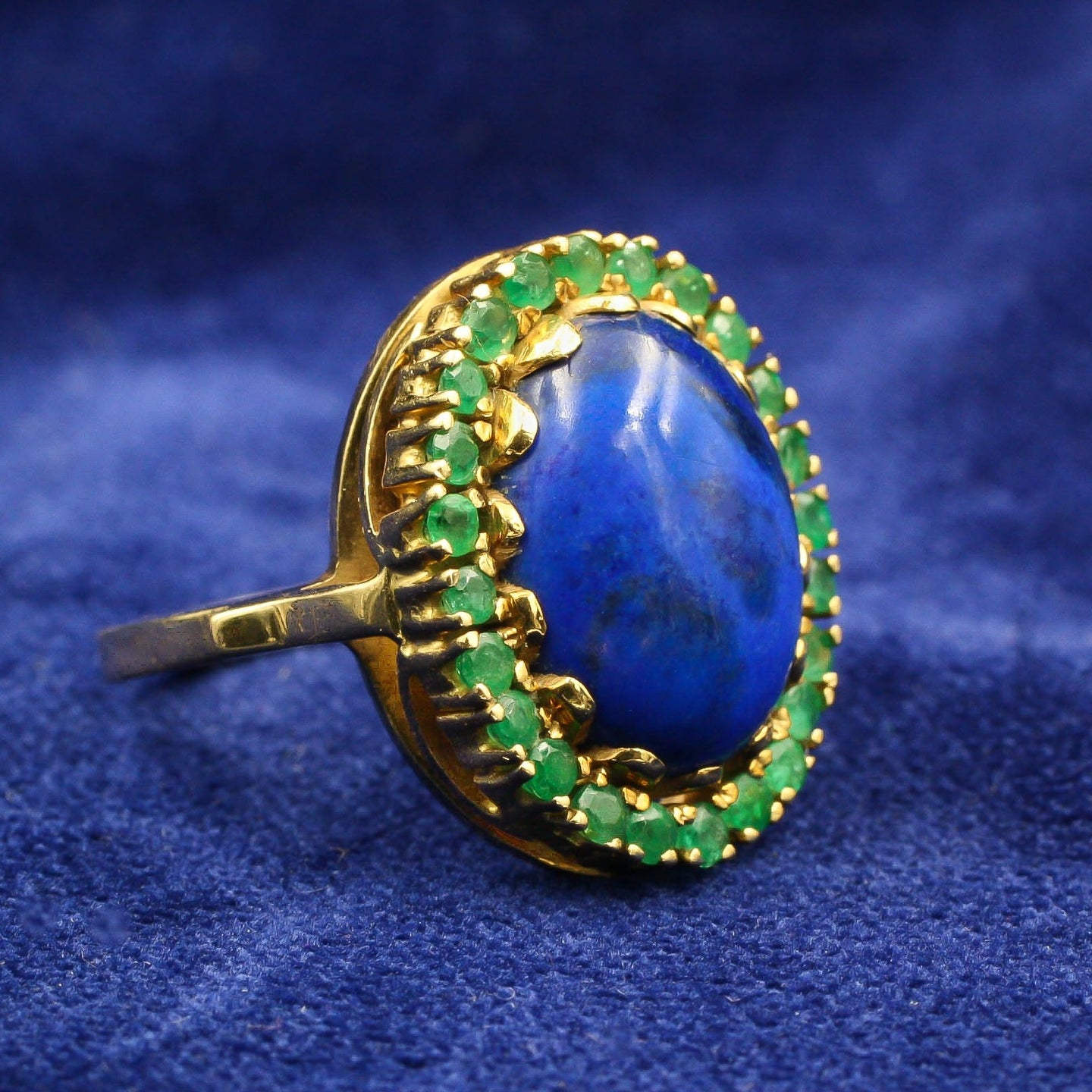 Lapis Ring With Emerald Halo c1960