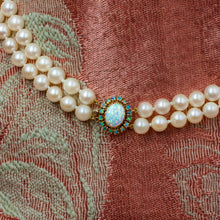 Pearl Necklace with Opal Clasp c1980