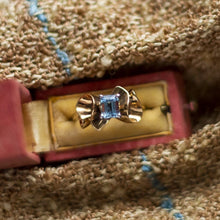 Retro Aquamarine Ruffle Ring c1940